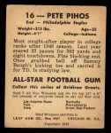 1948 Leaf #16 BLU Pete Pihos  Back Thumbnail