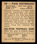 1948 Leaf #30 BRN Paul Governali  Back Thumbnail