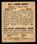 1948 Leaf #82  Fred Enke  Back Thumbnail
