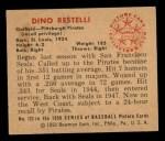 1950 Bowman #123  Dino Restelli  Back Thumbnail