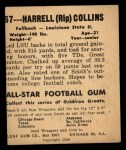 1948 Leaf #67  Harrell Collins  Back Thumbnail