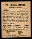 1948 Leaf #74  Russ Steger  Back Thumbnail