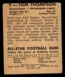1948 Leaf #9 YEL Tommy Thompson  Back Thumbnail