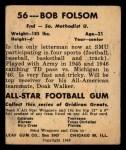 1948 Leaf #56  Bob Folsom  Back Thumbnail