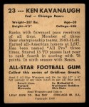 1948 Leaf #23 YEL Ken Kavanaugh  Back Thumbnail
