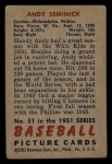 1951 Bowman #51  Andy Seminick  Back Thumbnail