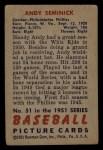 1951 Bowman #51  Andy Seminick  Back Thumbnail