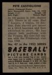 1952 Bowman #47  Pete Castiglione  Back Thumbnail