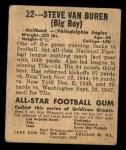 1948 Leaf #22 BLU Steve Van Buren  Back Thumbnail
