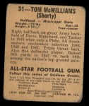 1948 Leaf #31 MAR Tom McWilliams  Back Thumbnail