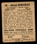 1948 Leaf #38 BLU Frank Dancewicz  Back Thumbnail