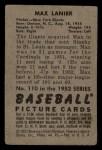 1952 Bowman #110  Max Lanier  Back Thumbnail