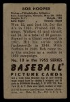 1952 Bowman #10  Bob Hooper  Back Thumbnail