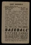 1952 Bowman #120  Chet Nichols  Back Thumbnail