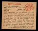 1950 Bowman #106  Cliff Fannin  Back Thumbnail
