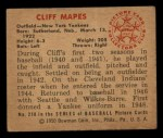 1950 Bowman #218  Cliff Mapes  Back Thumbnail