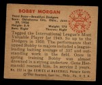 1950 Bowman #222  Bob Morgan  Back Thumbnail