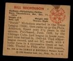 1950 Bowman #228 CPR Bill Nicholson  Back Thumbnail