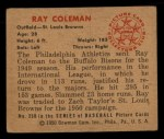1950 Bowman #250 CPR Ray Coleman  Back Thumbnail