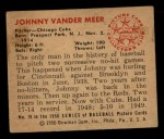 1950 Bowman #79  Johnny Vander Meer  Back Thumbnail