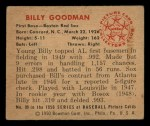 1950 Bowman #99  Billy Goodman  Back Thumbnail