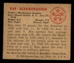 1950 Bowman #108  Ray Scarborough  Back Thumbnail