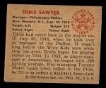 1950 Bowman #225 CPR Eddie Sawyer  Back Thumbnail