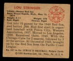 1950 Bowman #187  Lou Stringer  Back Thumbnail