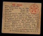 1950 Bowman #210  Ted Gray  Back Thumbnail