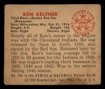 1950 Bowman #186 ^CR^ Ken Keltner  Back Thumbnail