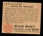 1949 Bowman Wild West #12 D  Saving the Wounded Back Thumbnail