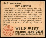 1949 Bowman Wild West #5 D  Boy Captives Back Thumbnail
