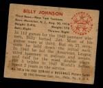1950 Bowman #102  Billy Johnson  Back Thumbnail