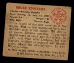 1950 Bowman #165  Bruce Edwards  Back Thumbnail