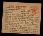 1950 Bowman #188  Earl Johnson  Back Thumbnail