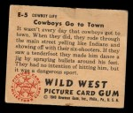 1949 Bowman Wild West #5 E  Cowboy's Go to Town Back Thumbnail