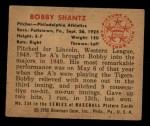 1950 Bowman #234 CPR Bobby Shantz  Back Thumbnail