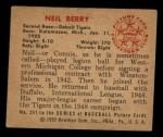 1950 Bowman #241 CPR Neil Berry  Back Thumbnail