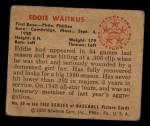 1950 Bowman #30  Eddie Waitkus  Back Thumbnail