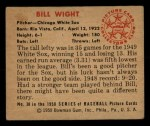 1950 Bowman #38  Bill Wight  Back Thumbnail