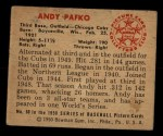 1950 Bowman #60  Andy Pafko  Back Thumbnail