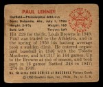 1950 Bowman #158  Paul Lehner  Back Thumbnail