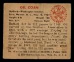 1950 Bowman #54  Gil Coan  Back Thumbnail