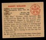 1950 Bowman #180  Harry Walker  Back Thumbnail