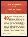1963 Fleer #40  Jim Norton  Back Thumbnail