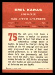 1963 Fleer #75  Emil Karras  Back Thumbnail