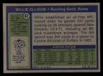 1972 Topps #62  Willie Ellison  Back Thumbnail