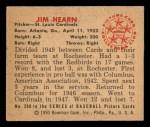 1950 Bowman #208  Jim Hearn  Back Thumbnail