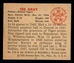 1950 Bowman #210 CPR Ted Gray  Back Thumbnail