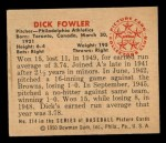 1950 Bowman #214  Dick Fowler  Back Thumbnail